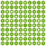 100 multimedia icons hexagon green. 100 multimedia icons set in green hexagon isolated vector illustration Stock Photography