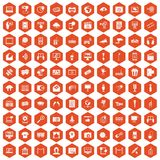 100 multimedia icons hexagon orange. 100 multimedia icons set in orange hexagon isolated vector illustration royalty free illustration