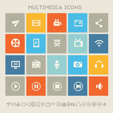 Multimedia icons. Multicolored square flat buttons Stock Image