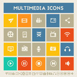 Multimedia icons. Multicolored square flat buttons Royalty Free Stock Photos