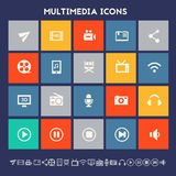 Multimedia icons. Multicolored square flat buttons Royalty Free Stock Photography