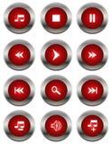 Multimedia icons. Red multimedia icons isolated on white royalty free illustration