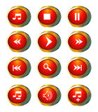 Multimedia icons. Red multimedia icons isolated on white Royalty Free Stock Photography