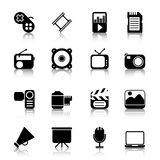 Multimedia Icons with reflection Stock Photography