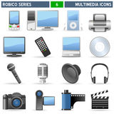 Multimedia Icons - Robico Series. Collection of 16 colorful multimedia icons, isolated on white background. Robico Series: check my portfolio for the complete Royalty Free Stock Photos