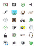 Multimedia icons set. Set of 24 multimedia icons Stock Image