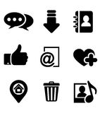 Multimedia icons set. Black multimedia icons set with chat, download, notebook, like, e-mail, home, favorite, media and bin symbols Royalty Free Stock Photos