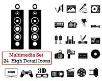 24 Multimedia Icons. Set of 24 Multimedia Icons in Black Color Royalty Free Stock Image