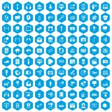 100 multimedia icons set blue. 100 multimedia icons set in blue hexagon isolated vector illustration Stock Illustration