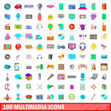 100 multimedia icons set, cartoon style. 100 multimedia icons set in cartoon style for any design vector illustration Stock Photo