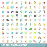 100 multimedia icons set, cartoon style Royalty Free Stock Image