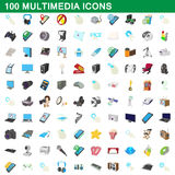 100 multimedia icons set, cartoon style Royalty Free Stock Photography