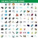 100 multimedia icons set, cartoon style. 100 multimedia icons set in cartoon style for any design illustration royalty free illustration