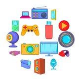 Multimedia icons set, cartoon style. Multimedia icons set in cartoon style. Video set collection isolated vector illustration Stock Photography