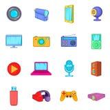 Multimedia icons set, cartoon style. Multimedia icons set in cartoon style. Video set collection isolated vector illustration Royalty Free Stock Photography