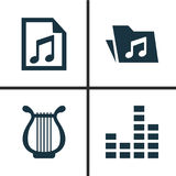 Multimedia Icons Set. Collection Of Dossier, File, Lyre And Other Elements. Also Includes Symbols Such As Lyre, Music Royalty Free Stock Image