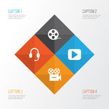Multimedia Icons Set. Collection Of Play, Filmstrip, Headset And Other Elements. Also Includes Symbols Such As Headset