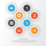 Multimedia Icons Set. Collection Of Start, Megaphone, Barrel And Other Elements. Also Includes Symbols Such As Speaker Royalty Free Stock Images