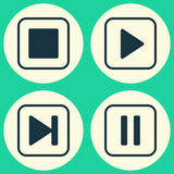 Multimedia Icons Set. Collection Of Start Song Royalty Free Stock Image