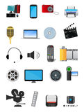 Multimedia icons. Set of colorful Multimedia icons isolated on white Royalty Free Stock Photography