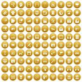 100 multimedia icons set gold. 100 multimedia icons set in gold circle isolated on white vector illustration Royalty Free Stock Photography