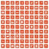 100 multimedia icons set grunge orange. 100 multimedia icons set in grunge style orange color isolated on white background vector illustration Stock Image