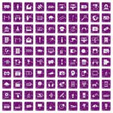 100 multimedia icons set grunge purple Stock Photos