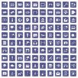 100 multimedia icons set grunge sapphire. 100 multimedia icons set in grunge style sapphire color isolated on white background vector illustration Royalty Free Stock Photography