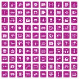 100 multimedia icons set grunge pink. 100 multimedia icons set in grunge style pink color isolated on white background vector illustration vector illustration