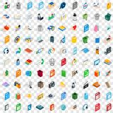 100 multimedia icons set, isometric 3d style. 100 multimedia icons set in isometric 3d style for any design vector illustration Stock Photography