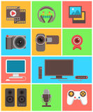 Multimedia icons Royalty Free Stock Photography