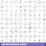 100 multimedia icons set, outline style Royalty Free Stock Photo