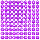 100 multimedia icons set purple. 100 multimedia icons set in purple circle isolated on white vector illustration vector illustration