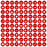 100 multimedia icons set red. 100 multimedia icons set in red circle  on white vector illustration Stock Photo