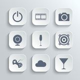 Multimedia icons set - vector white app buttons Royalty Free Stock Photography