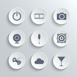 Multimedia icons set - vector white round buttons Royalty Free Stock Image