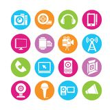 Multimedia icons. Set of 16 web icons in colorful buttons Stock Photos