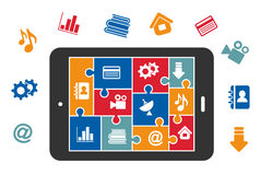 Multimedia icons on tablet screen Royalty Free Stock Image