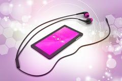 Multimedia ilar telefonen med hörlurar Arkivfoto