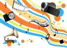 Multimedia illustration backgr. Detailed conceptual multimedia illustration background Stock Images