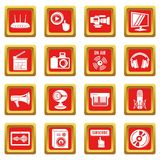 Multimedia internet icons set red square vector. Multimedia internet icons set vector red square isolated on white background Stock Photos