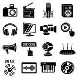 Multimedia internet icons set, simple style. Multimedia internet icons set. Simple illustration of 16 multimedia internet vector icons for web Royalty Free Stock Image