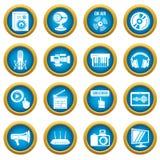 Multimedia internet icons set, simple style. Multimedia internet icons set. Simple illustration of 16 multimedia internet vector icons for web Stock Image