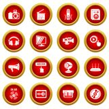 Multimedia internet icons set, simple style. Multimedia internet icons set. Simple illustration of 16 multimedia internet vector icons for web Royalty Free Stock Images