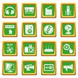 Multimedia internet icons set green square vector. Multimedia internet icons set vector green square isolated on white background Stock Image