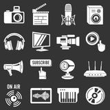 Multimedia internet icons set grey vector. Multimedia internet icons set vector white isolated on grey background Stock Images