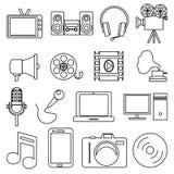 Multimedia line icons set Stock Photos