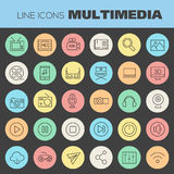 Multimedia linear icons collection Royalty Free Stock Photo