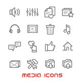 Multimedia and media thin line icons Stock Photos