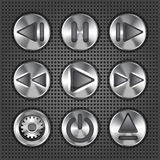 Multimedia metallic knob buttons Royalty Free Stock Photos
